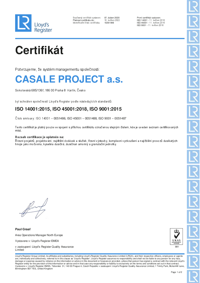 Certifikát CASALE PROJECT a.s. 2020